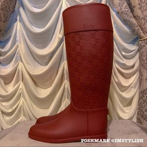 Gucci Shoes - Gucci Monogram Rain Boots Rubber Winter Wellies